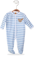 click to see Steiff  Pale Blue & White Velour Babygrow in detail
