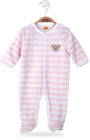 click to see Steiff  Pale Pink & White Velour Babygrow in detail