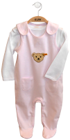 click to see Steiff  Two Piece Pink Babygrow in detail