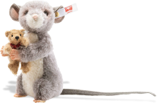 click to see Steiff  Maggy Mouse Holding A Little Bear in detail