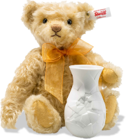 click to see Steiff  Sunflower Teddy Bear With Vase in detail