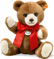 click to see Steiff  Petsy Teddy Bear With Bright Red Bow in detail