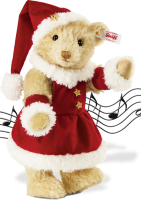 click to see Steiff Mrs Santa Claus 'musical' Teddy Bear For Christmas in detail