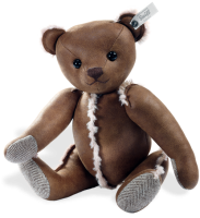click to see Steiff  Faux Leather Brown Bear With Tweed Paw Pads in detail