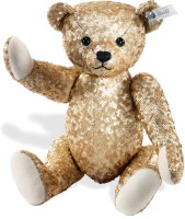 click to see Steiff  Gold Sequined Bear in detail