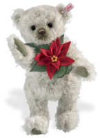 click to see Steiff  Mohair Poinsettia Teddy Bear in detail