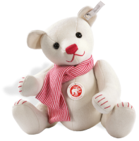 click to see Steiff  White Felt Teddy With Scarf in detail