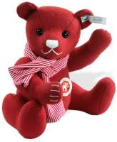 click to see Steiff  Red Felt Teddy With Scarf in detail
