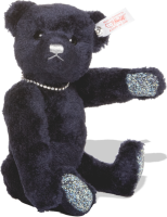 click to see Steiff  Saphire Blue Bear - With Swarovski Necklace & Paws in detail