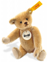 click to see Steiff  1908 Replica Yellow Miniature Teddy in detail
