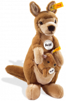 click to see Steiff  Wally Kangaroo With Willy Baby Kangaroo in detail