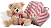 click to see Steiff  Fynn Teddy Bear With Candy Cane Suitcase in detail