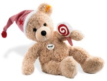 click to see Steiff  Fynn Teddy Bear With Cap And Lolly in detail
