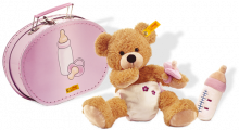 click to see Steiff  Fynn Bear 'baby' In Suitcase in detail