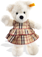 click to see Steiff  White Lotte With Plaid Dress in detail