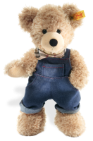 click to see Steiff  Fynn Teddy Bear With Dungarees in detail