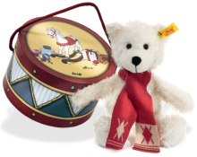 click to see Steiff  Charly Teddy Bear In Drum in detail