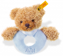 click to see Steiff  Sleep Well Grip Toy With Rattle (blue) in detail