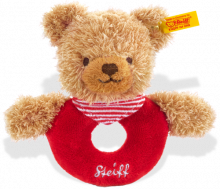 click to see Steiff Sleep Well Grip Toy With Rattle (red) in detail