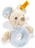click to see Steiff  Sniffy Mouse Grip Toy With Rattle (blue) in detail