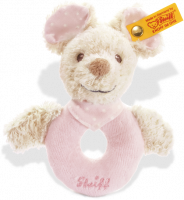 click to see Steiff  Sniffy Mouse Grip Toy (pale Pink) in detail