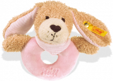 click to see Steiff  Good Night Dog Grip Toy Pink With Rattle in detail