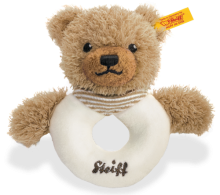 click to see Steiff  Sleep Well Brown Grip Toy Rattle in detail