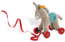 click to see Steiff  Pull-along Issy Donkey in detail