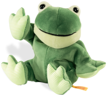 click to see Steiff  Floppy Cappy Frog Heat Cushion in detail