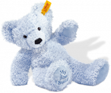 click to see Steiff 'my First' Blue  Teddy Bear in detail
