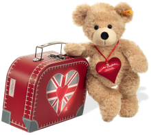 click to see Steiff  Tru Brit Suitcase And Teddy Bear in detail